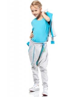 Spodnie baggy z modnym zamkiem 116-140 KI009 trzy kolory