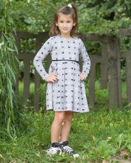 Praktyczna sukienka z długim rękawem 110-128 Ola szary