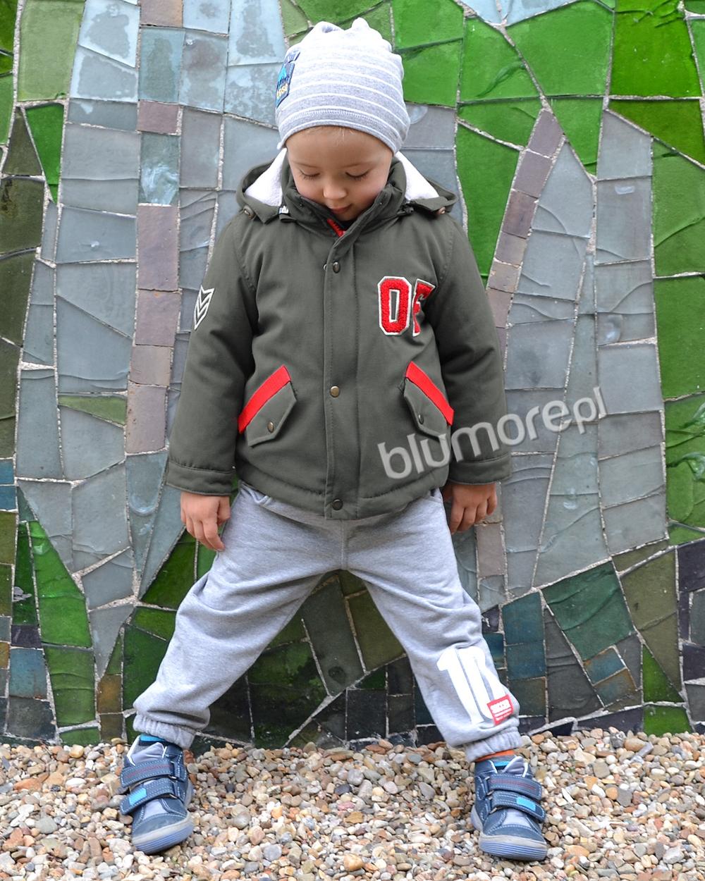 ca9b52093559e1 Chłopięca kurtka z modnymi wstawkami 98-128 Jacek khaki