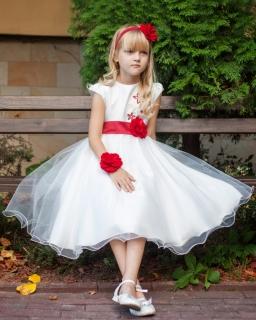Piękna sukienka z tiulem 122-158 Carmen ecru