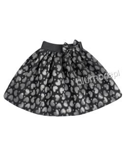Dziewczęca spódniczka w serca 104-140 Lea czerń plus srebro