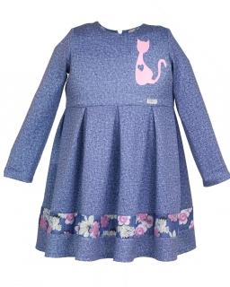Dzianinowa sukienka z kotkiem 104-128 Molly niebieski jeans