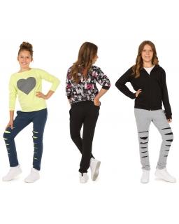 Spodnie dresowe z modnymi rozcięciami 116-158 KRP035 trzy kolory