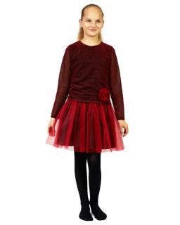 Tiulowa sukienka z niższym stanem 140-158 Rosa czerwień