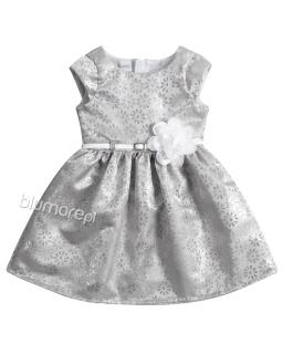 Lśniąca sukienka w kwiaty 62-104 Tacjana 6 srebro