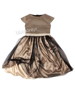 Niezwykła sukienka z tiulowym dołem 116-158 Zosia złoto plus czerń