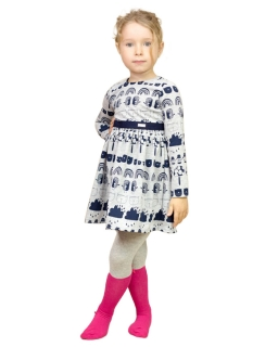 Sukienka z ciekawymi wzorkami 92-128 Inga szary plus granat