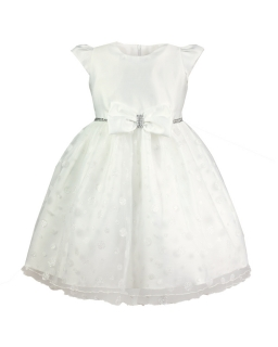 Elegancka sukienka z kokardką 98-128 Dolores ecru