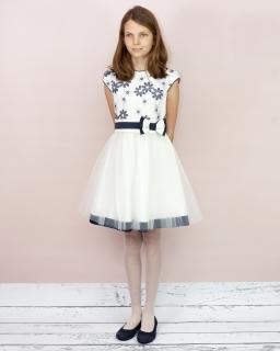Sukienka z kwiatowym motywem 128-158 Jowita biel plus granat