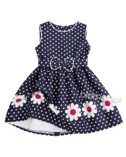 Sukienka dziewczeca w groszki 92-146 Margaretka z różowym