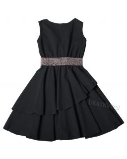 Sukienka z modną falbanką 134-158 Dream czarny plus srebrny pasek