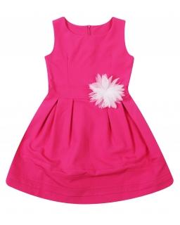 Świetna, prosta wizytowa sukienka 122 - 164 Wiki fuksja
