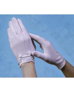 Białe rękawiczki komunijne RK26