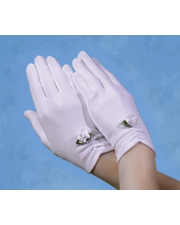 Komunijne rękawiczki z kwiatem RK30