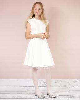 Rozkloszowana sukienka 140-164 Izabela ecru plus brzoskwiania
