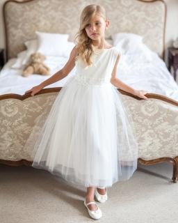 Sukienka okolicznościowa dla dziewczynki 122-158 12SM ecru