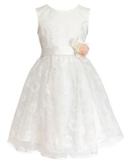 Wizytowa sukienka 122-146 1SM ecru