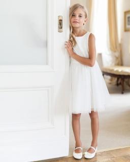 Sukienka z koronkową górą 134-158 2SM ecru
