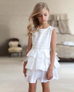 Sukienka z górą we wzory 134-158 21SM ecru