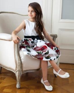 Sukienka w róże 122-146 28SM ecru