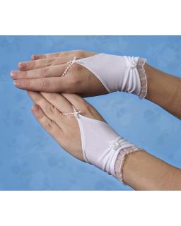 Komunijne rękawiczki z falbanką RK50