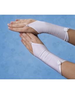 Długie rękawiczki komunijne z różyczką RK52