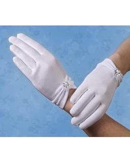 Komunijne rękawiczki z kwiatkiem RK59