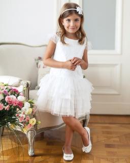 Rozkloszowana sukienka dla dziewczynki 134-158 6SM ecru