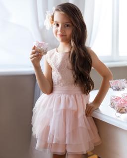 Sukienka z tiulem 134-158 7SM Brzoskwioniowy