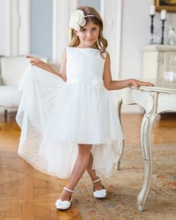 Sukienka z przedłużonym tyłem 134-158 10SM ecru