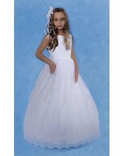 Komunijna sukienka z koronkowym dołem 128-152 S02