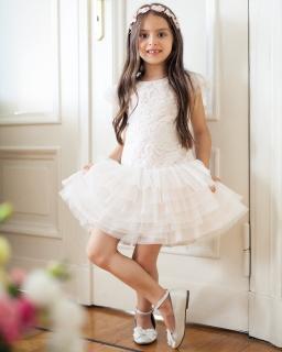 Sukienka wizytowa 104-128 11SM Ecru plus brzoskwinia