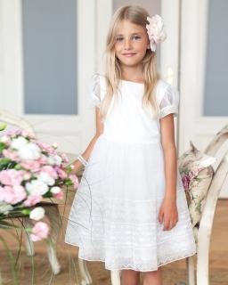 Okolicznościowa sukienka dla dziewczynki 122-146 13SM ecru