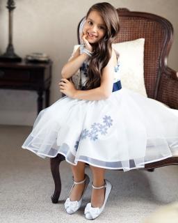 Sukienka z kwiatowym motywem 122-146 18SM ecru plus granat