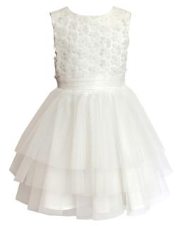 Wizytowa sukienka z falbanami 122-146 24SM ecru
