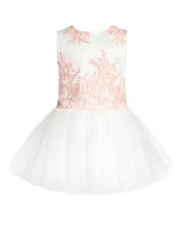 Sukienka dla dziewczynki 134-158 31ASM Ecru plus brzoskwioniowy