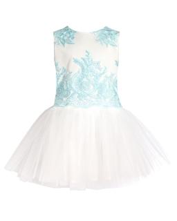 Okazjonalna sukienka z tiulem 134-158 31BSM Ecru plus mięta