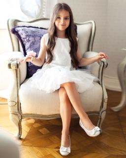 Sukienka wizytowa dla dziewczynki 122-146 32SM ecru