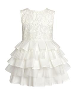 Wizytowa sukienka z koronkową górą 134-158 27SM Ecru