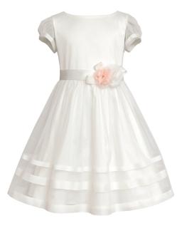 Sukienka z kwiatem dla dziewczynki 134-158 30SM Ecru