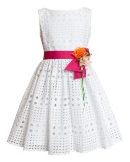 Sukienka z ażurowym wzorem 122-146 3BW Biel