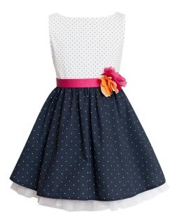 Rozkloszowana sukienka w kropki 122-146 5W Biel plus granat