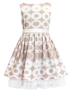 Letnia sukienka w koła 134-158 6W Beż plus krem