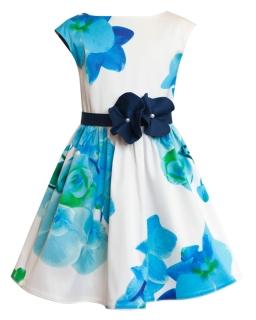 Sukienka w kwiatowy wzór 134-158 8W Ecru plus niebieski