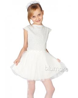 Szałowa sukienka 128-158 Perła srebrny plus ecru
