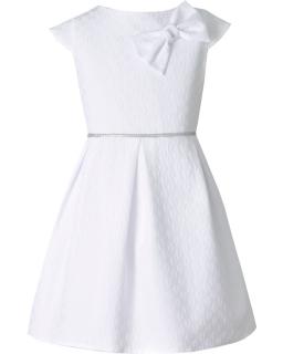 Sukienka z odpinaną kokardą 140-164 Kiss biała