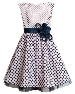 Sukienka w groszki dla dziewczynki 122-146 9BW Róż plus granat