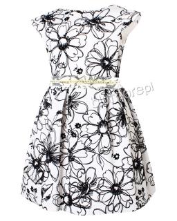 Sukienka wizytowa w kwiaty 124-158 Tina 2 biel plus czerń