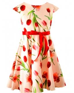 Sukienka w tulipany i róże 134-158 Arletta róż