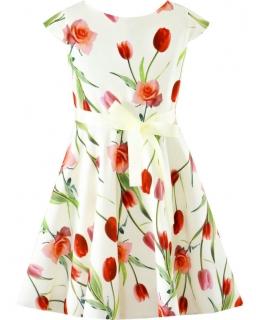 Sukienka w kwiaty dla dziewczynki 134-158 Arletta ecru